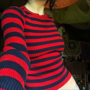 Red and navy cropped sweater